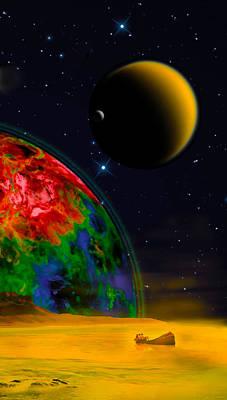 Digital Art - Yellow Sea On Kepler 186d by Chuck Mountain