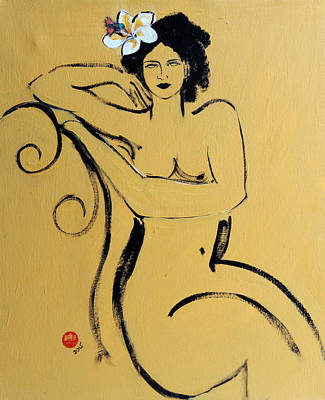 Yellow Seated Nude With White Flower And Bird Art Print