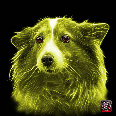 Mixed Media - Yellow Shetland Sheepdog Dog Art 9973 - Bb by James Ahn