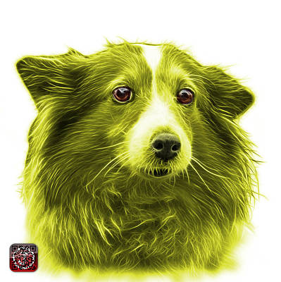 Mixed Media - Yellow Shetland Sheepdog Dog Art 9973 - Wb by James Ahn