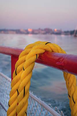 Photograph - Yellow Ship Rope - Nautical Art by Joann Vitali