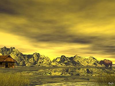 Digital Art - Yellow Sky In Wyoming by John Pangia
