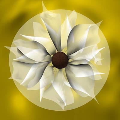 Abstract Digital Art - Yellow Soft Flower by Alberto RuiZ