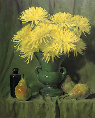 Painting - Yellow Spider Mums In Apple-green Vase by Robert Holden
