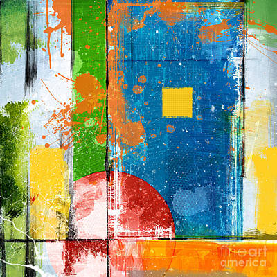 Quarters Mixed Media - Yellow Square by Bedros Awak