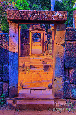 Photograph - Yellow Steps Blue Doorway by Rick Bragan