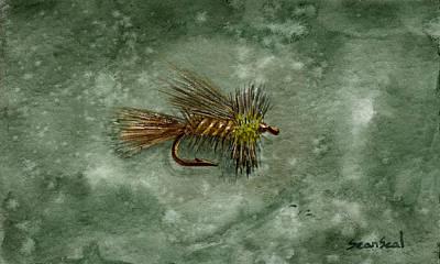 Flyfishing Painting - Yellow Stimulator by Sean Seal