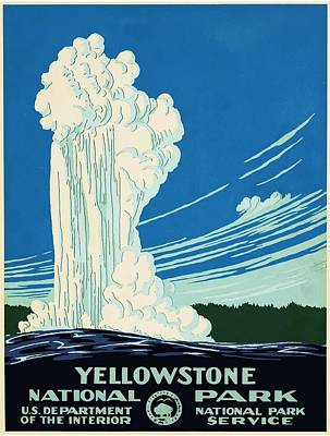 Yellowstone Drawing - Yellow Stone Park - Vintage Travel Poster by Ipa