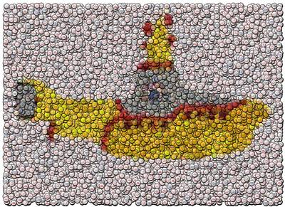 Yellow Submarine Bottle Cap Mosaic Art Print by Paul Van Scott
