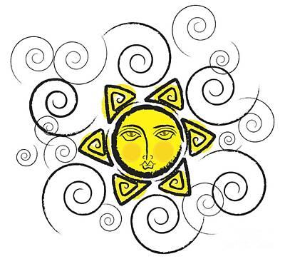 Illustration Digital Art - Yellow Sun - Black by Prar Kulasekara