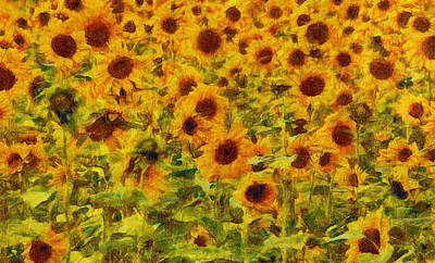 Painting - Yellow Sunflowers Field Art Painting by Wall Art Prints