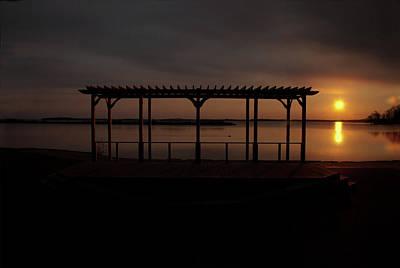 Digital Art - Yellow Sunrise Over Couchiching by JGracey Stinson