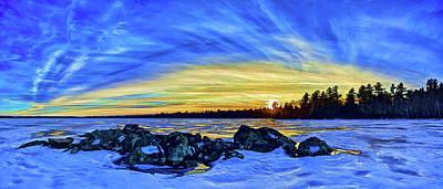 Manipulation Photograph - Yellow Sunset At Meddybemps by ABeautifulSky Photography