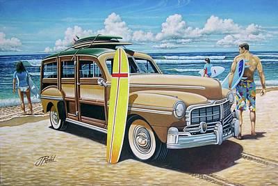 Yellow Surfboard Art Print