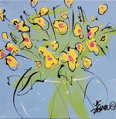 Painting - Yellow Sweetpeas by Terri Einer