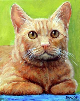 Orange Tabby Painting - Yellow Tabby Cat Hands Folded by Dottie Dracos
