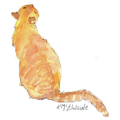 Painting - Yellow Tabby Cat Watercolor And Ink Painting by Kathleen McElwaine