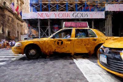 Digital Art - Yellow Taxi Cab by Matthew Ashton