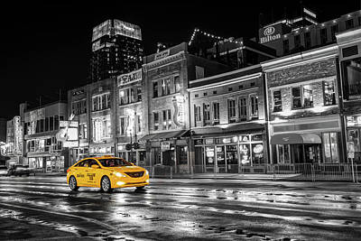 Photograph - Yellow Taxi Cab On Lower Broadway - Nashville Tennessee by Gregory Ballos