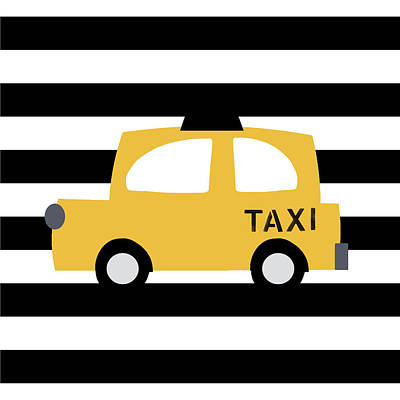 Juvenile Wall Decor Digital Art - Yellow Taxi With Stripes- Art By Linda Woods by Linda Woods