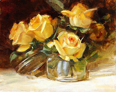 Painting - Yellow Tea Roses by Chris  Saper