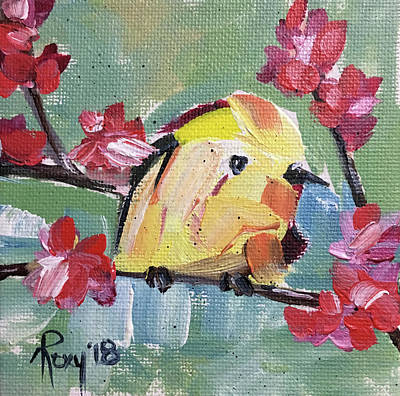 Yellow Painting - Yellow Tit by Roxy Rich