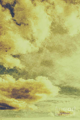 Yellow Toned Textured Grungy Cloudscape Art Print