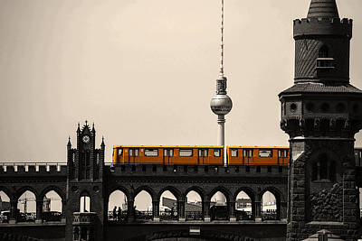 Yellow Train And A Tower Art Print