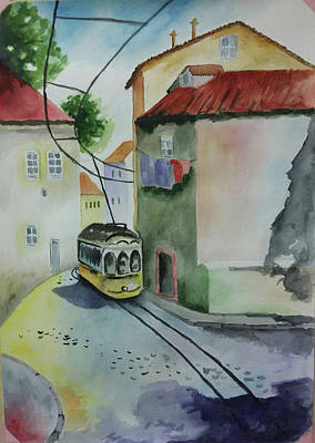 Old Tram Painting - Yellow Tram by Victoria Zavyalova