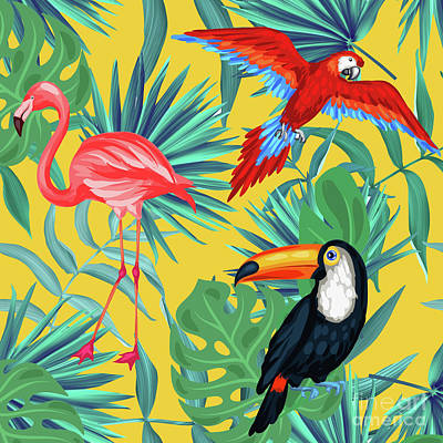 Toucan Digital Art - Yellow Tropic  by Mark Ashkenazi