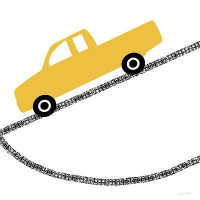 Yellow Truck On Road- Art By Linda Woods Art Print