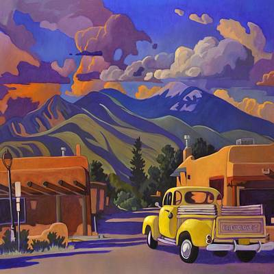 Painting - Yellow Truck Square by Art West