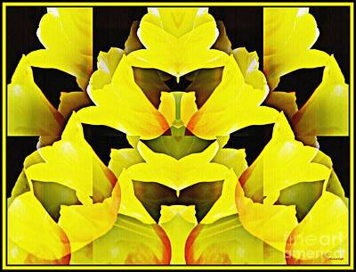 Digital Art - Yellow Tulip Bouquet   by Sarah Loft