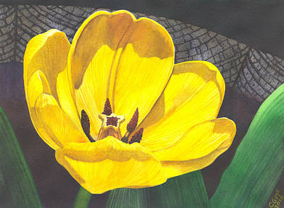 Barrel Painting - Yellow Tulip by Catherine G McElroy