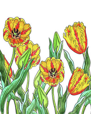 Painting - Yellow Tulip Garden Botanical Watercolor by Irina Sztukowski