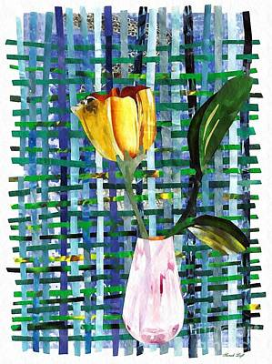 Flowers In Vase Mixed Media - Yellow Tulip In A Pink Vase by Sarah Loft