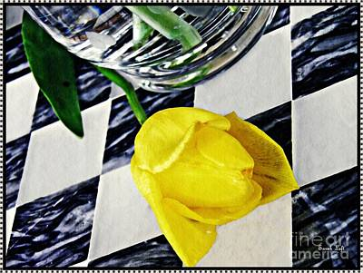Tulips For The Home Photograph - Yellow Tulip On The Checker Board by Sarah Loft