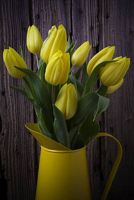 Yellow Tulips In Yellow Pitcher Art Print by Garry Gay