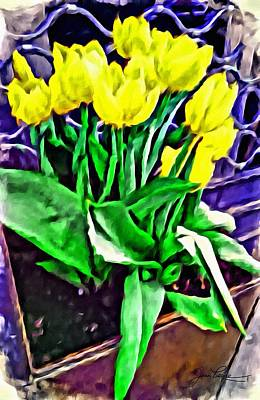 Art Print featuring the painting Yellow Tulips by Joan Reese