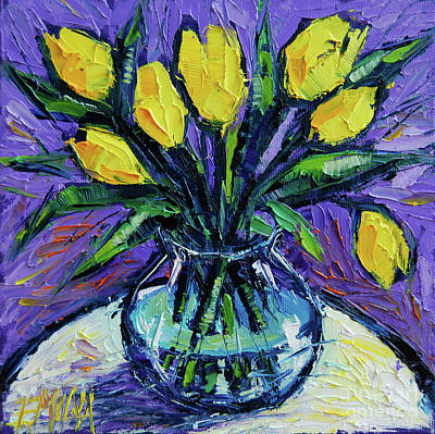 Yellow Tulips On White Table - Impasto Etude Art Print by Mona Edulesco