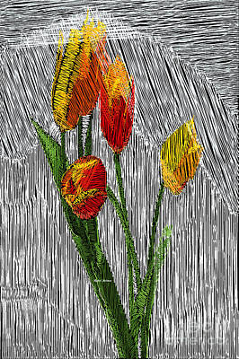 Digital Art - Yellow Tulips by Rafael Salazar