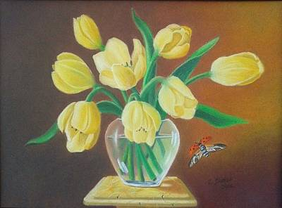 Painting - Yellow Tulips by Zdzislaw Dudek