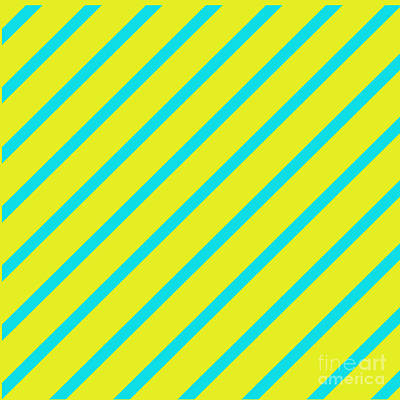 Digital Art - Yellow Turquoise Angled Stripes by Susan Stevenson