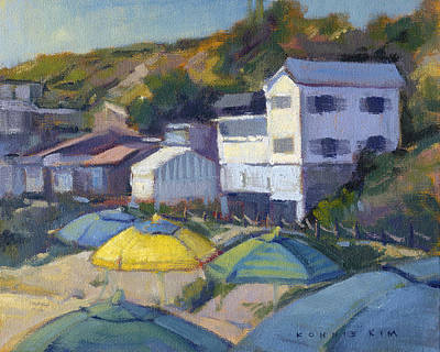 Painting - Yellow Umbrella / Crystal Cove by Konnie Kim
