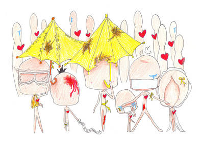 Yellow Umbrellas All Over The World Original by Blue M