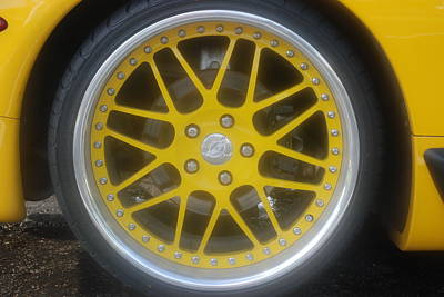 Yellow Vette Wheel Art Print by Rob Hans