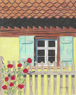 Drawing - Yellow Villa by Arlene Crafton