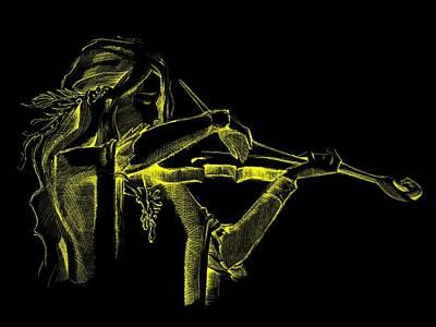 Violinist Digital Art - Yellow Violinist  by Movie Poster Prints