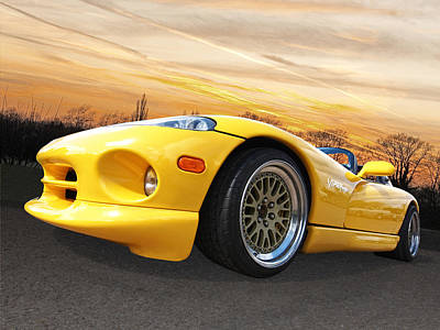 Yellow Viper Rt10 Print by Gill Billington