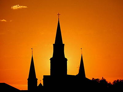 Photograph - New Orleans Yellow Voltage The St. Louis Cathedral by Michael Hoard